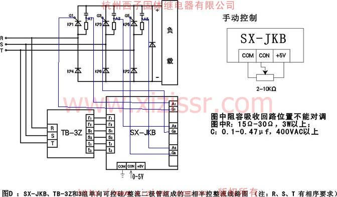 4 接线示意图 4.1 三相调压单硅移相触发器模块(SX-JKAx) SX-JKAx在三相调压同步变压器模块TB-3A的支持下,实现三组反并联单向可控硅所组成电路输出交流电压的无级调压的触发控制。(用户需自己配备可控硅)  4.2 三相调压双硅移相触发器模块(SX-JKTx): SX-JKTx在三相调压同步变压器模块TB-3A的支持下,实现三只双向可控硅所组成电路输出交流电压的无级调压的触发控制,一般只用于阻性负载回路。(用户需自己配备可控硅)  4.